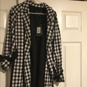Black and white checker trench coat